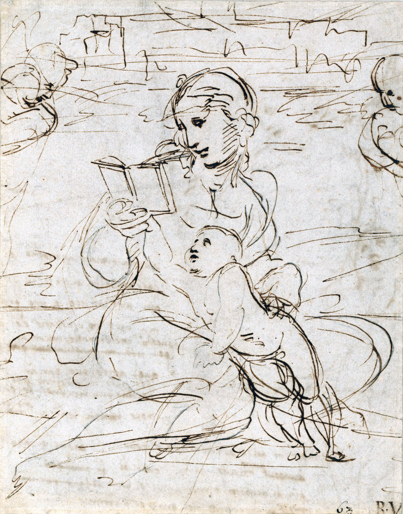 Detail of Reading Madonna and Child in a Landscape betweem two Cherub Heads by Raphael