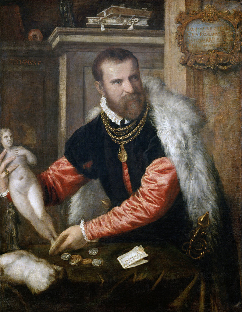 Detail of Portrait of Jacopo Strada (1507-1588) by Titian