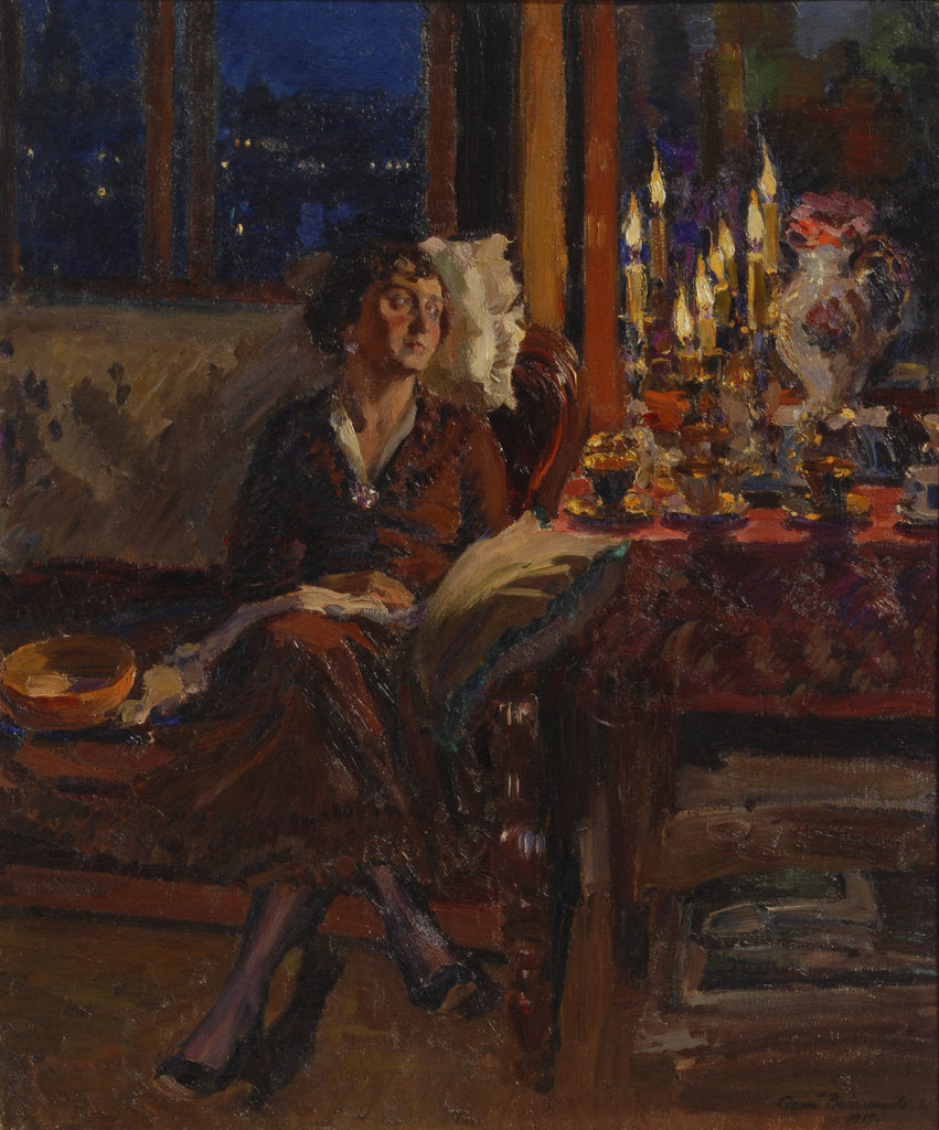 Lady with Book in an Interior, 1917 posters & prints by Sergei Arsenyevich  Vinogradov