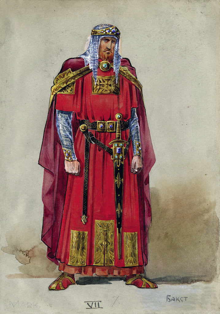 Detail of Medieval Prince. Costume design by Leon Bakst