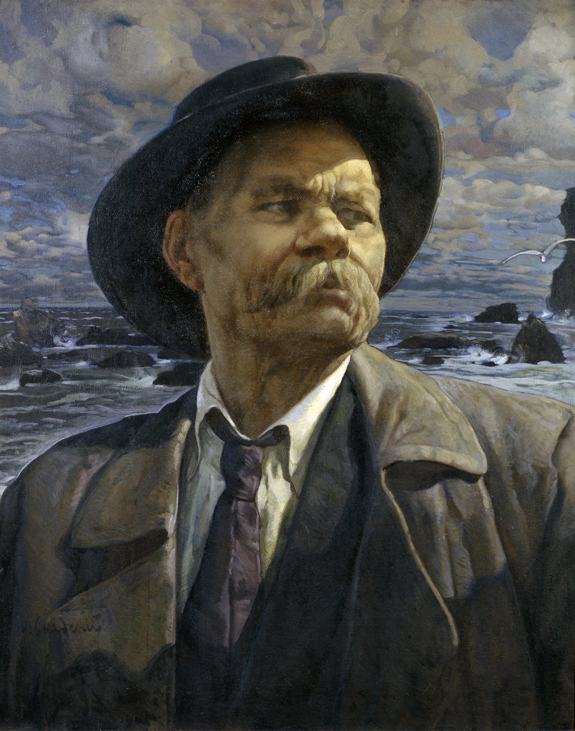 Detail of Portrait of the author Maxim Gorky (1868-1939) by Isaak Izrailevich Brodsky