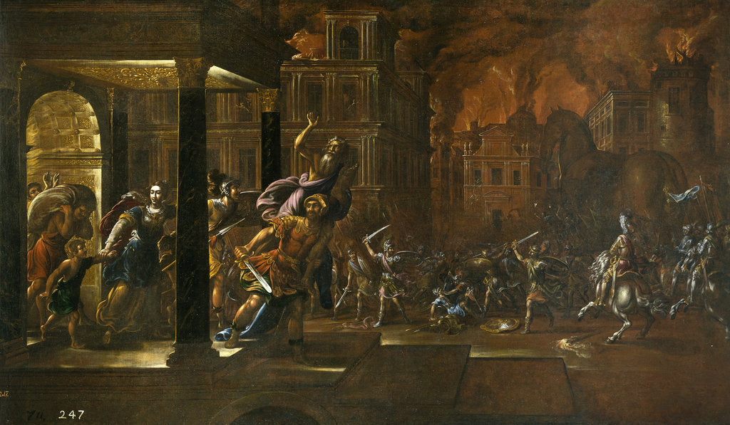 Detail of The Fire of Troy, Mid of 17th cen by Juan de la Corte