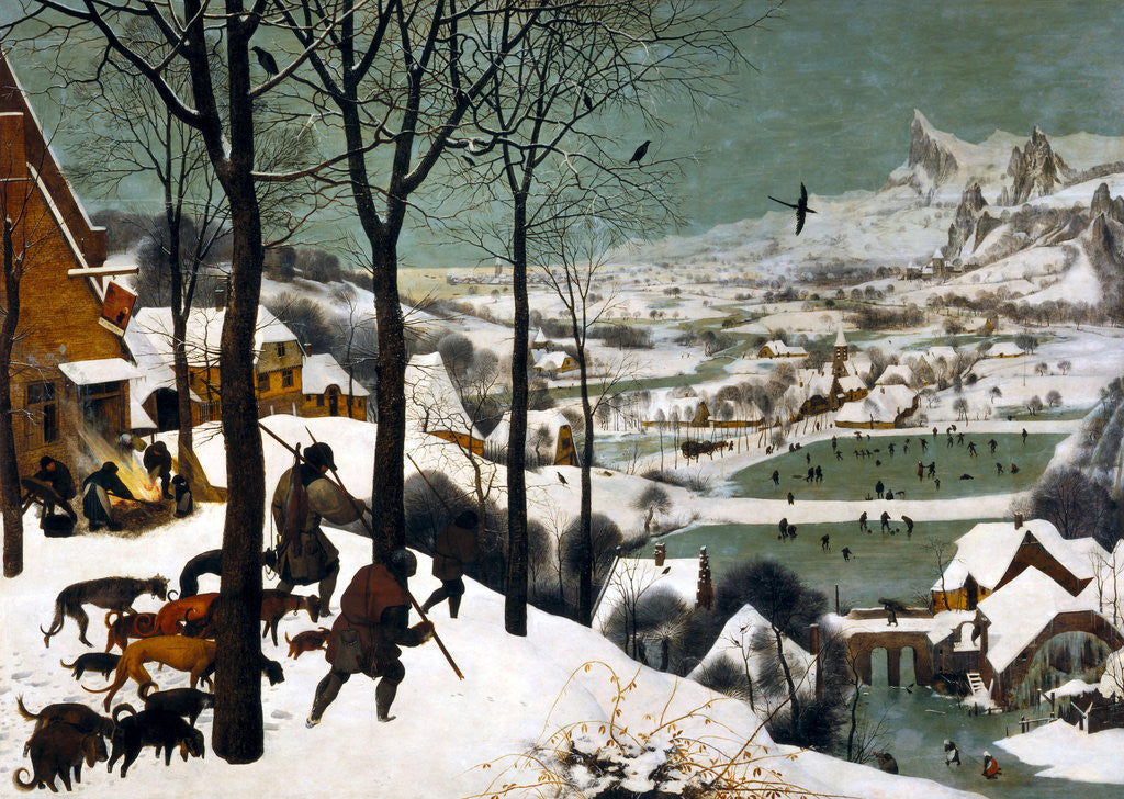 Detail of Hunters in the Snow (Winter) by Bruegel