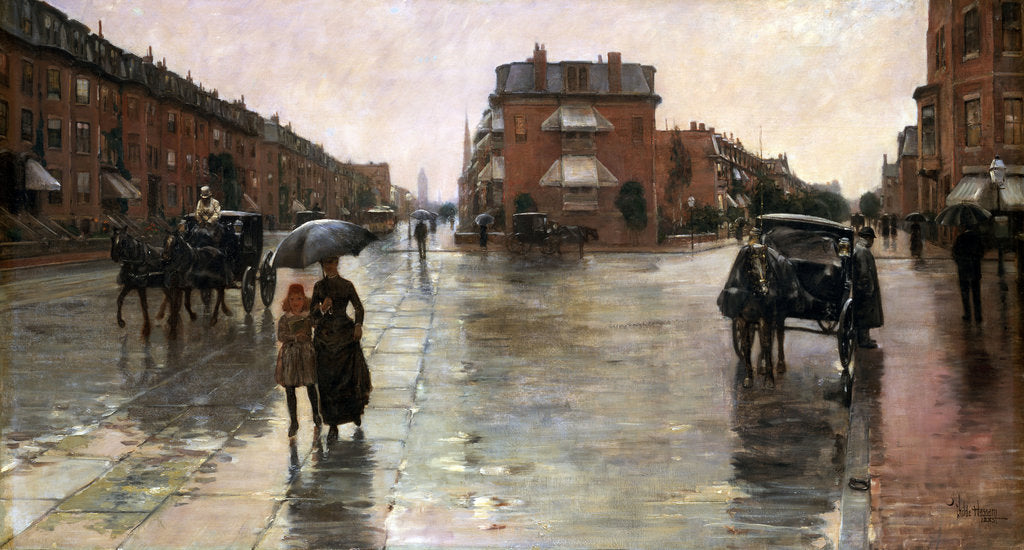 Detail of Rainy Day, Boston, 1885 by Childe Hassam