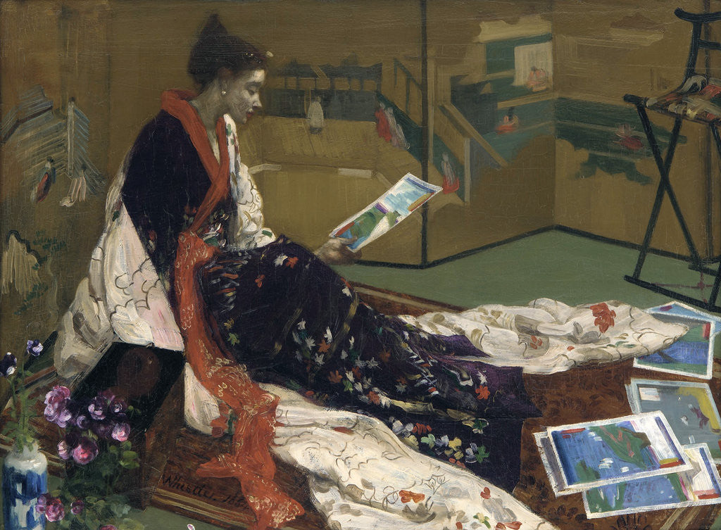 Detail of Caprice in Purple and Gold: The Golden Screen by James Abbott McNeill Whistler