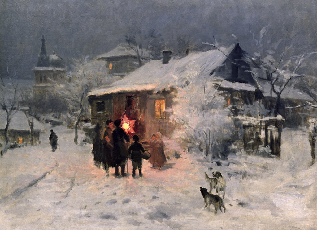 Detail of The Christmas carol in the Ukraine by Nikolai Kornilovich Pimonenko