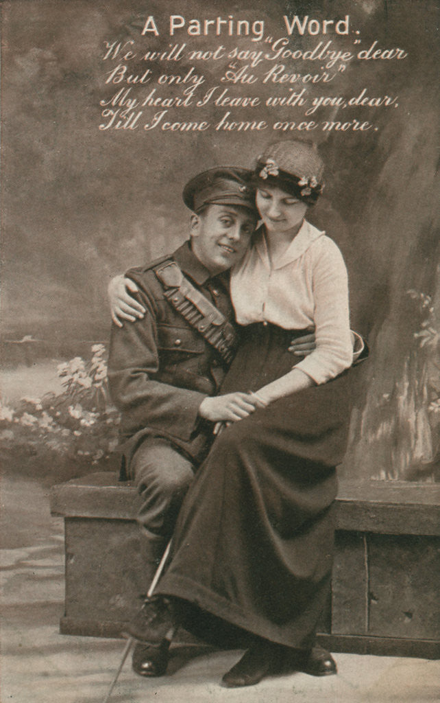Detail of 'A Parting Word', romantic postcard featuring a soldier and his sweetheart by Anonymous