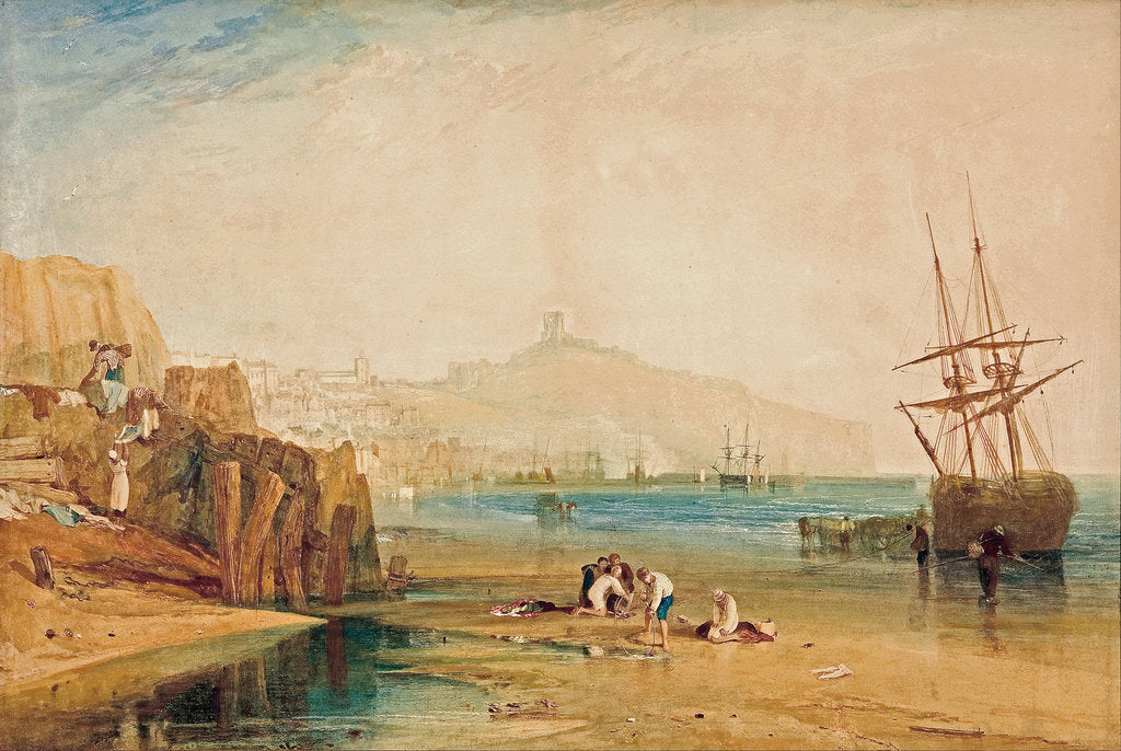 Detail of Scarborough, morning, boys catching crabs, c. 1810 by Joseph Mallord William Turner
