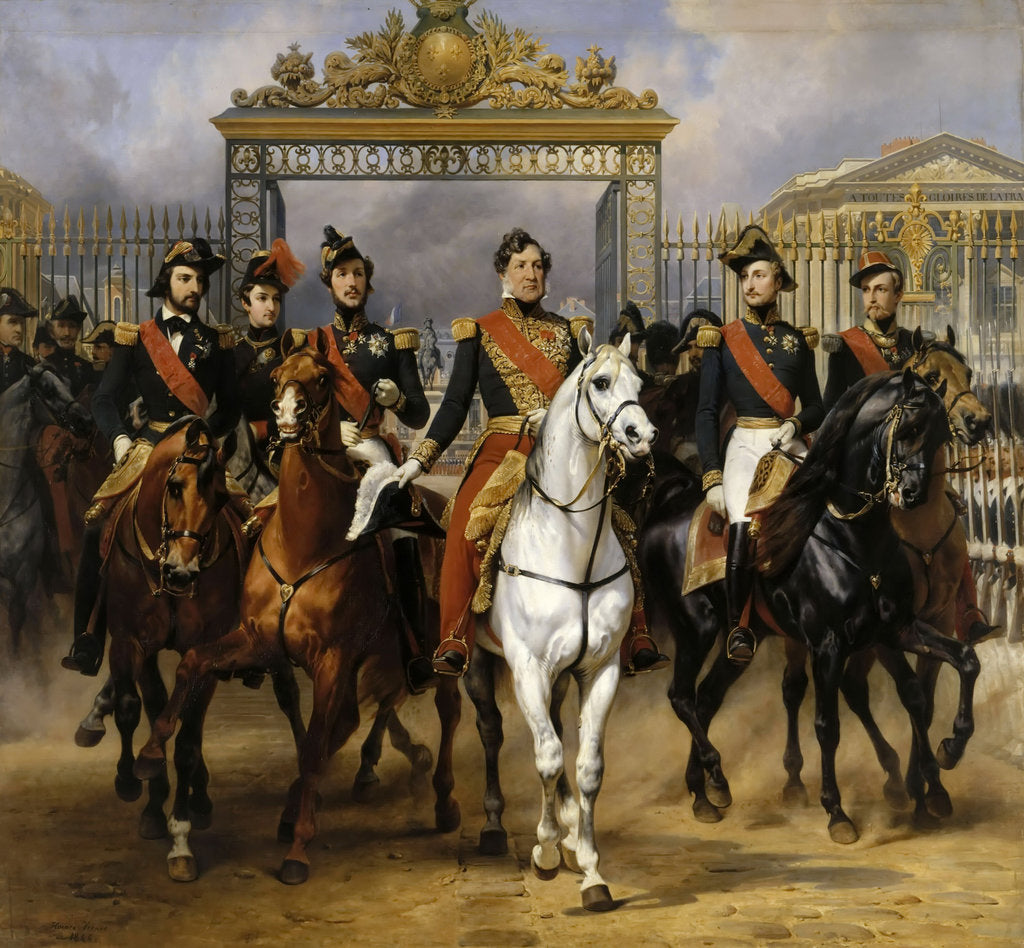 Detail of Louis Philippe and his sons to horse at this leave Versailles of lock, June 10, 1837 by Horace Vernet
