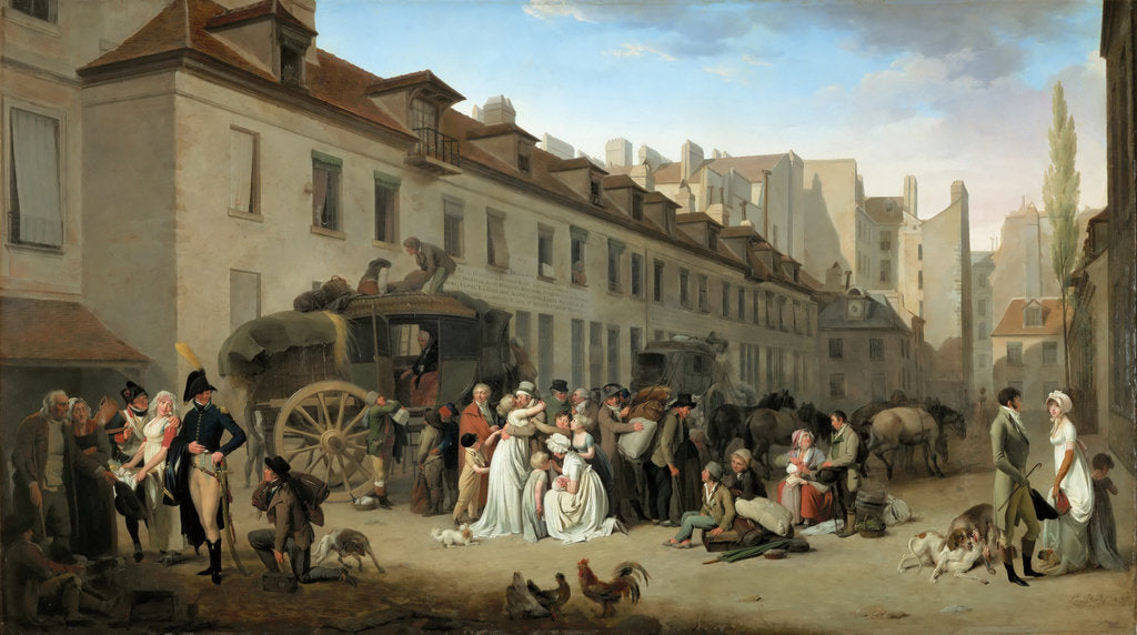 Detail of Arrival of the Stagecoach in the Courtyard of the Messageries by Louis-Léopold Boilly