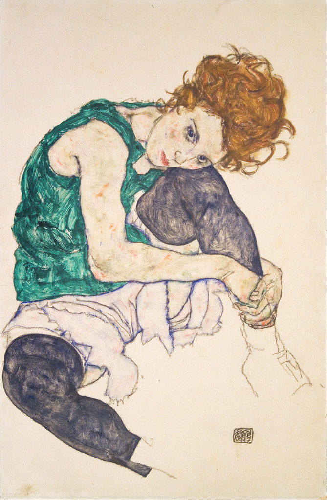 Detail of Seated Woman with Legs Drawn Up by Egon Schiele