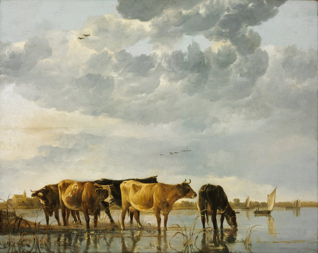 Detail of Cows in a River by Aelbert Cuyp