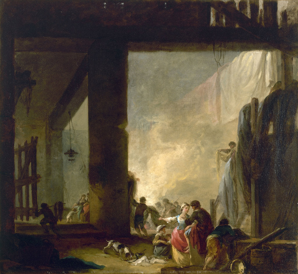 Detail of The Laundry by Hubert Robert