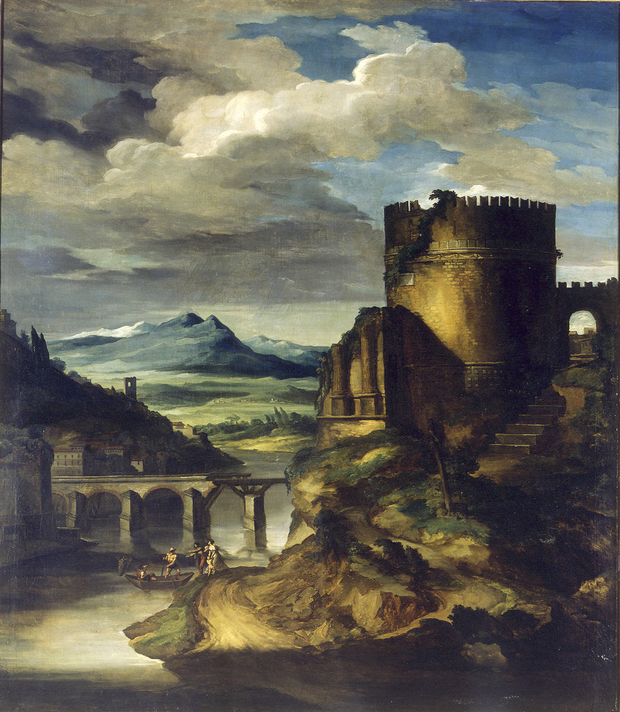 Detail of Landscape with a Tomb by Théodore Géricault