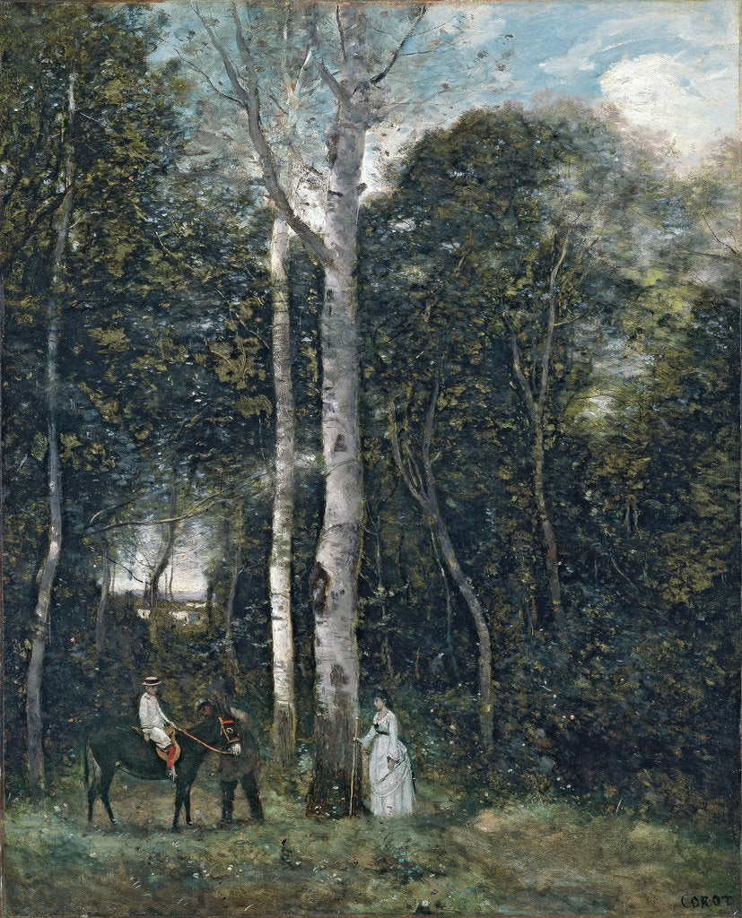 Detail of The Parc des Lions at Port-Marly by Jean-Baptiste Camille Corot
