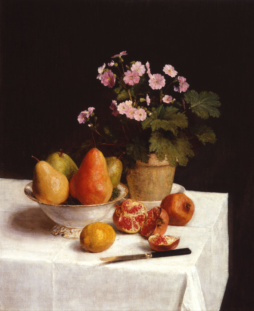 Detail of Still life with primroses and pears by Henri Fantin-Latour