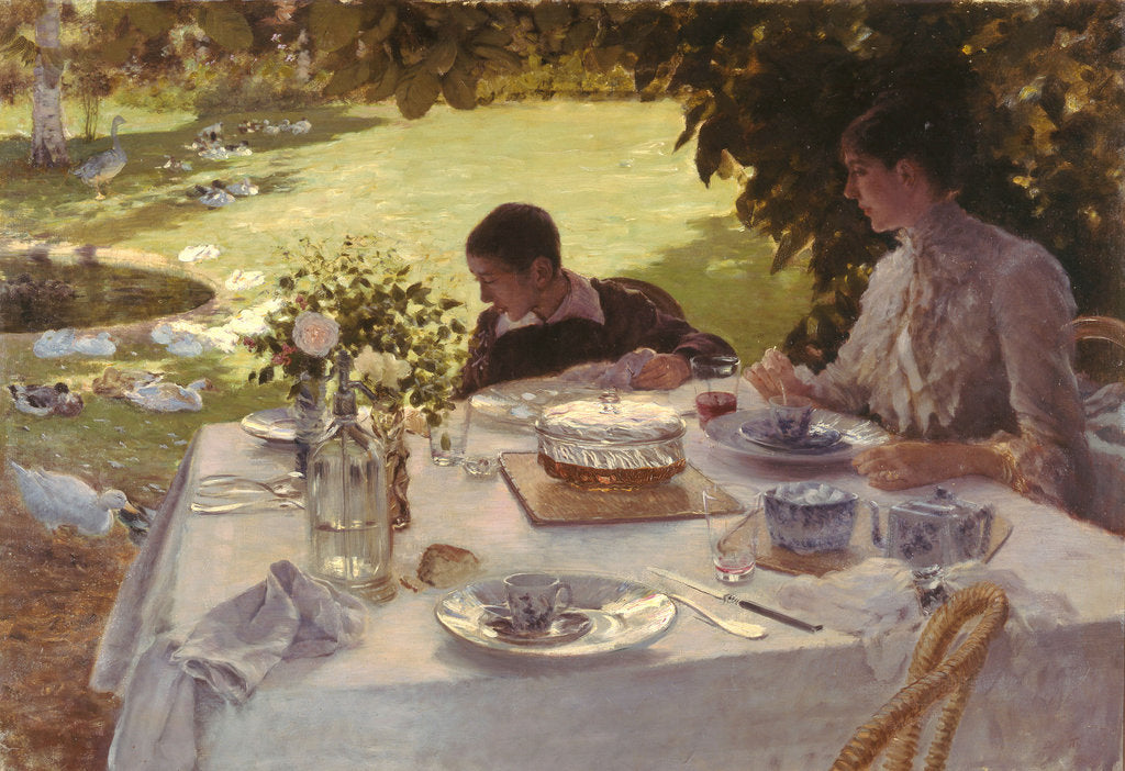 Detail of Breakfast in the garden by Giuseppe De Nittis