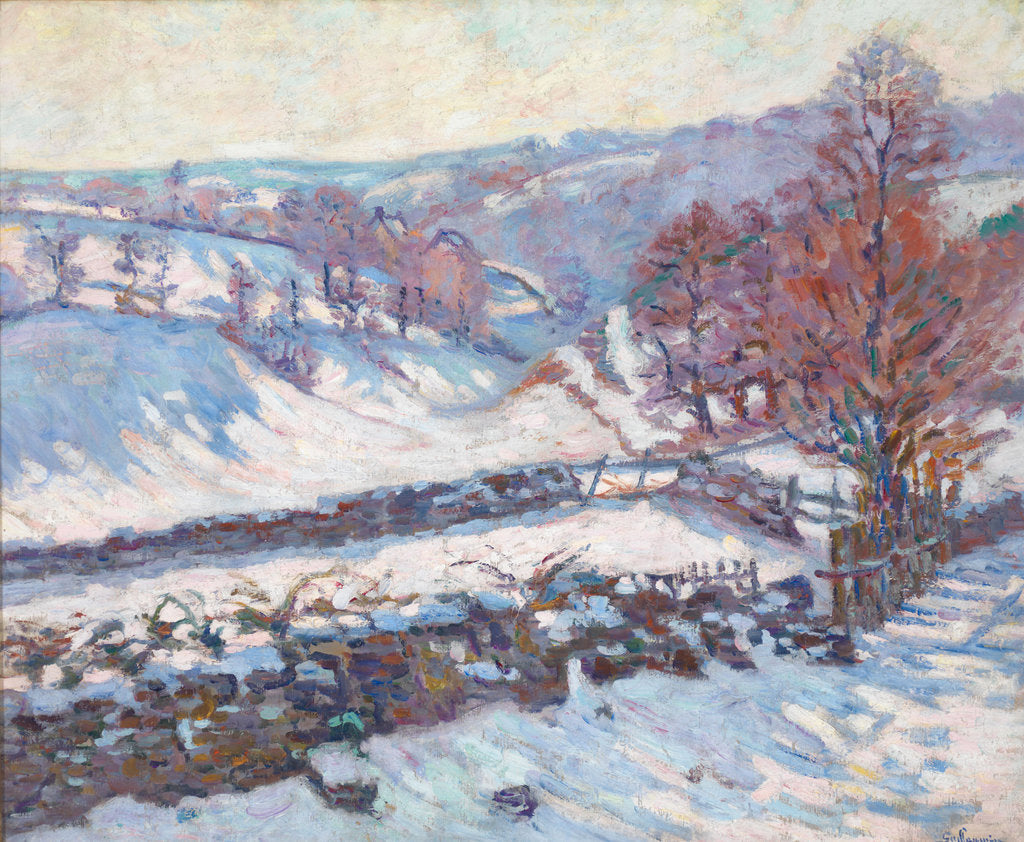 Detail of Snowy Landscape at Crozant by Jean-Baptiste Armand Guillaumin