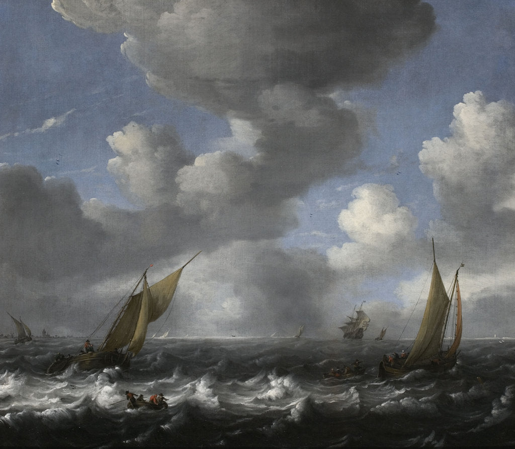 Detail of Seascape with Fishing Boats by Ludolf Bakhuizen