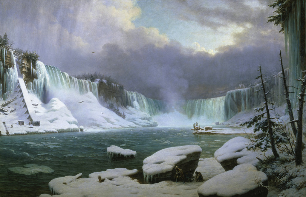 Detail of Niagara Falls in Winter by Hippolyte Sebron