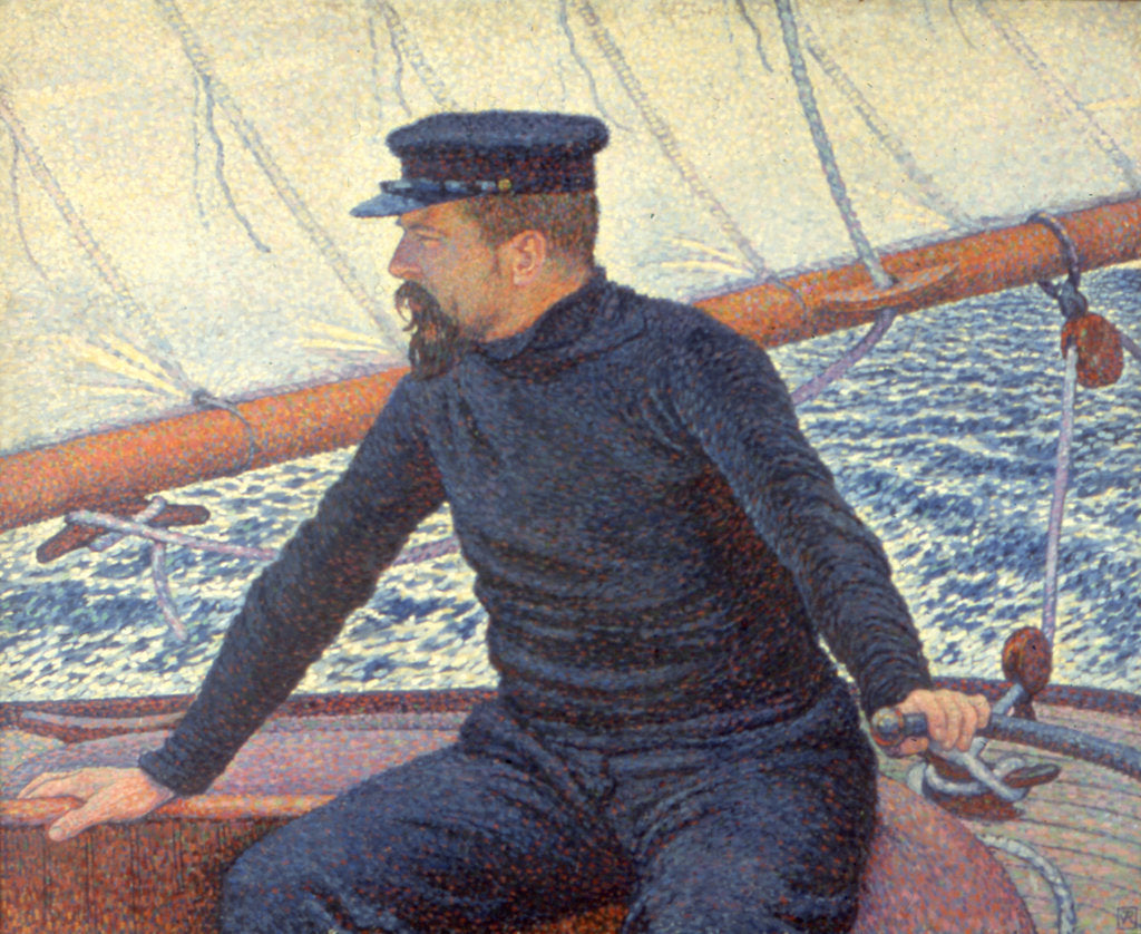 Paul Signac on his boat by Théo van Rysselberghe