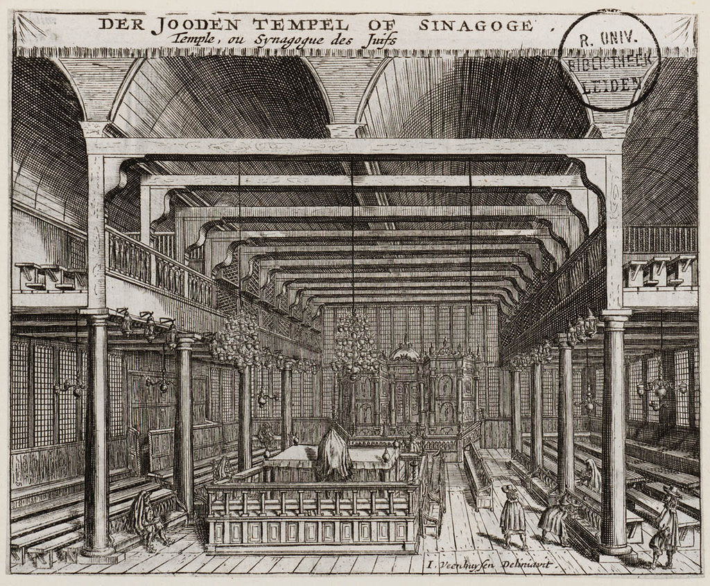 Detail of Interior of the Portuguese Synagogue in Amsterdam by Jan Veenhuysen