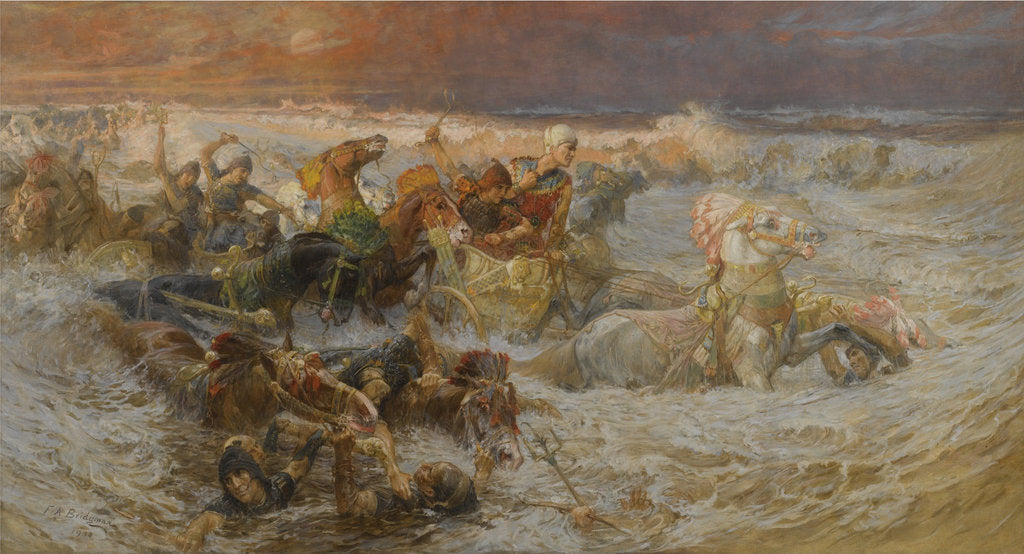 Detail of Pharaohs Army Engulfed by the Red Sea by Frederick Arthur Bridgman