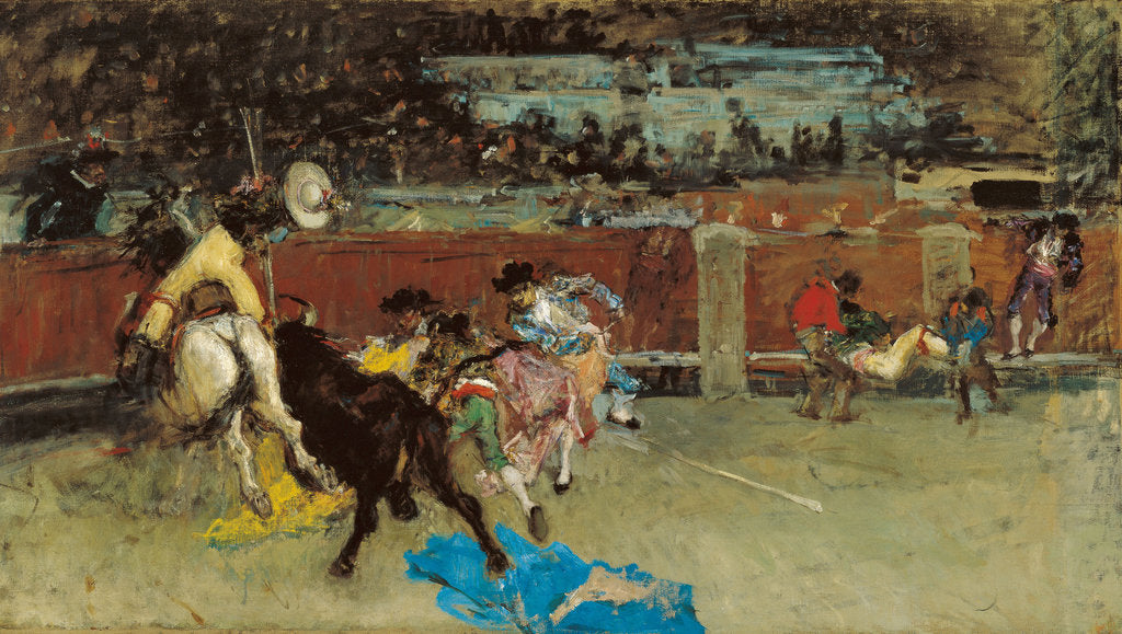 Detail of Bullfight. Wounded Picador by Marià Fortuny
