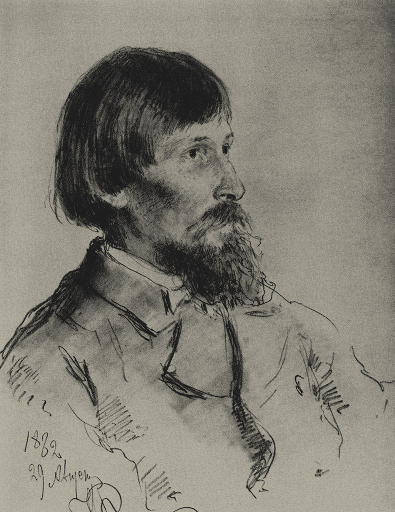 Detail of Portrait of the artist Viktor Vasnetsov by Ilya Yefimovich Repin