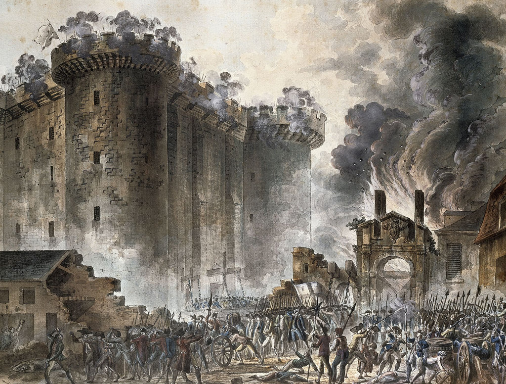 Detail of The Storming of the Bastille on 14 July 1789, c. 1789 by Jean Pierre Laurent Houel