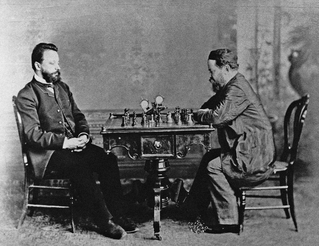 Detail of Mikhail Chigorin and William Steinitz in Havana, 1880, 1880 by Anonymous