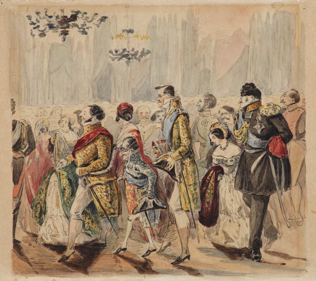 Detail of High Society Ball, First quarter of 19th century by Vasili Venediktovich Baranov