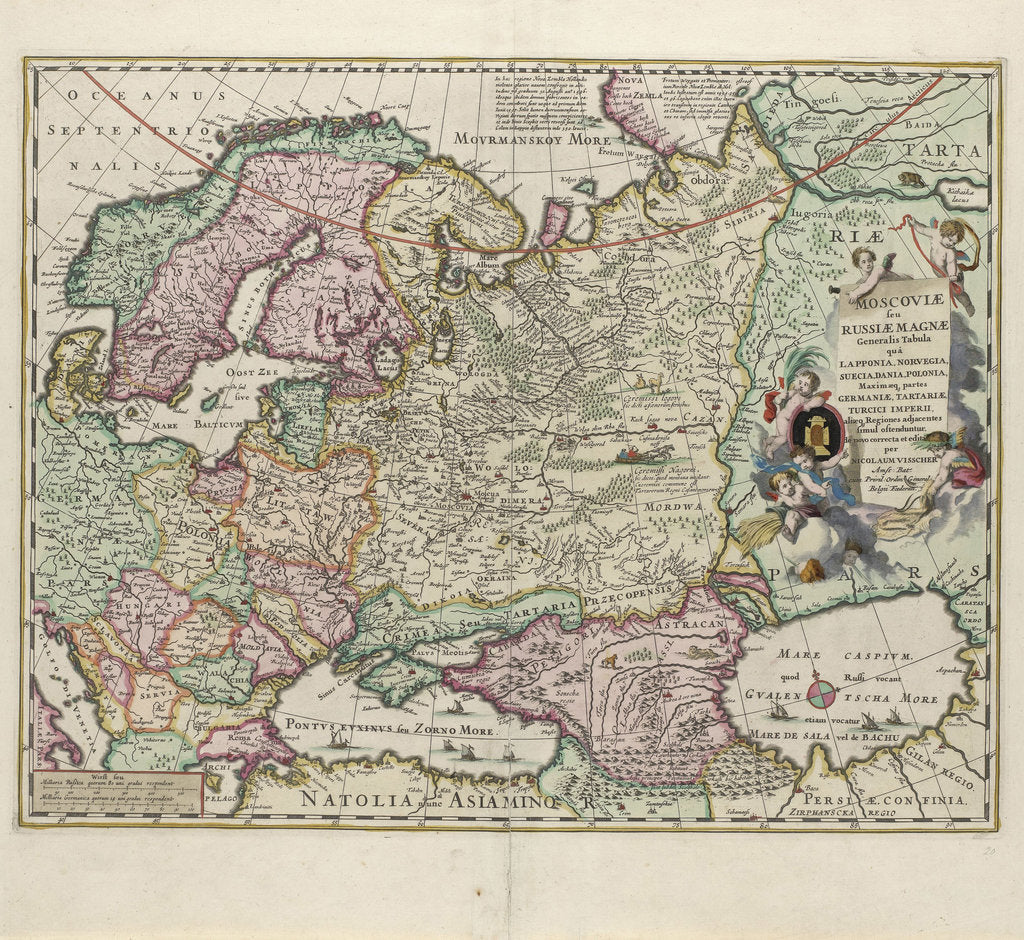 Detail of Map of Russia, Second Half of the 17th century by Nicolaes Visscher