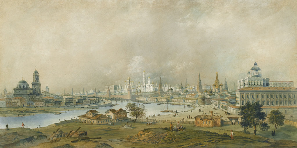 Detail of View of the Moscow Kremlin from the Ustinsky Bridge by Carlo Bossoli