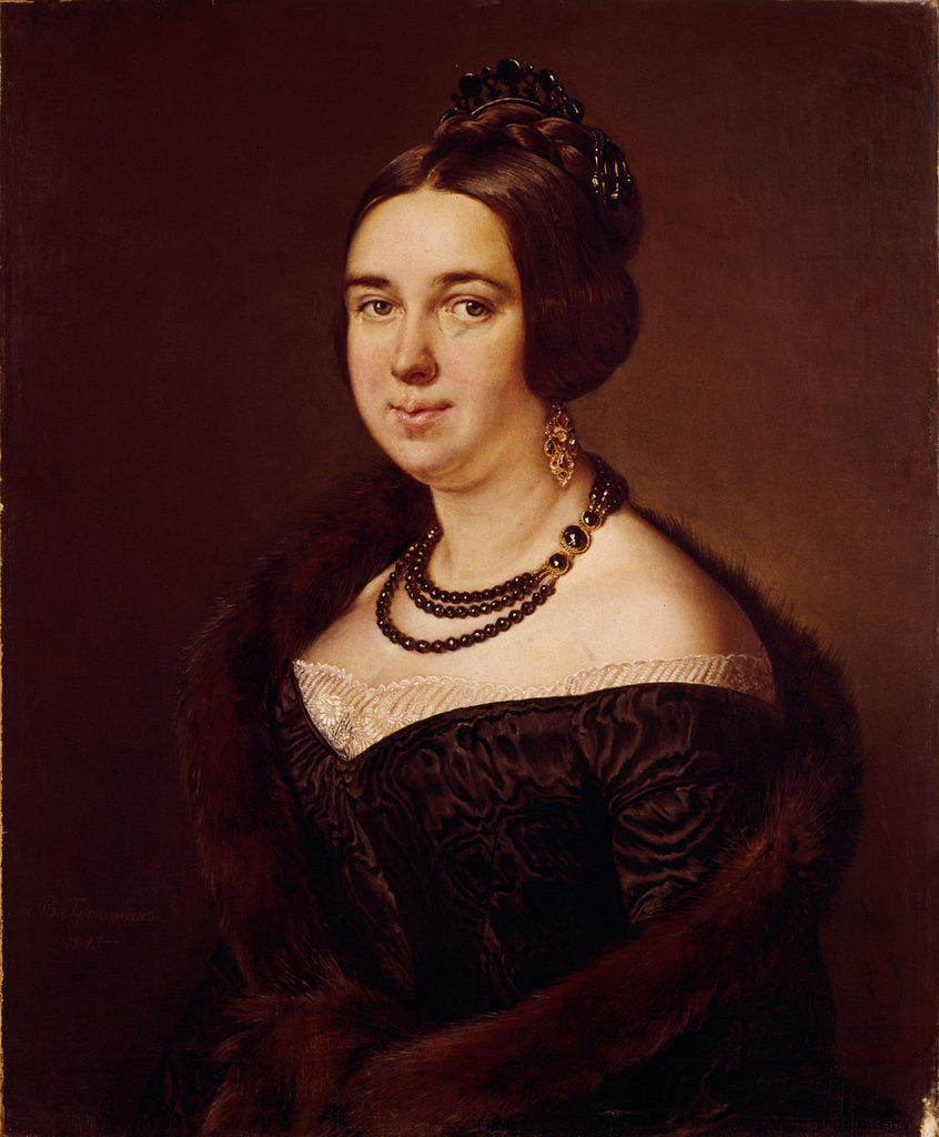Detail of Portrait of Countess Alexandra Alexeevna Obolenskaya, née Mazurina, 1845 by Vasili Andreyevich Tropinin
