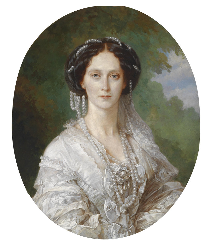 Detail of Portrait of Maria Alexandrovna, Empress of Russia, 1857 by Franz Xavier Winterhalter
