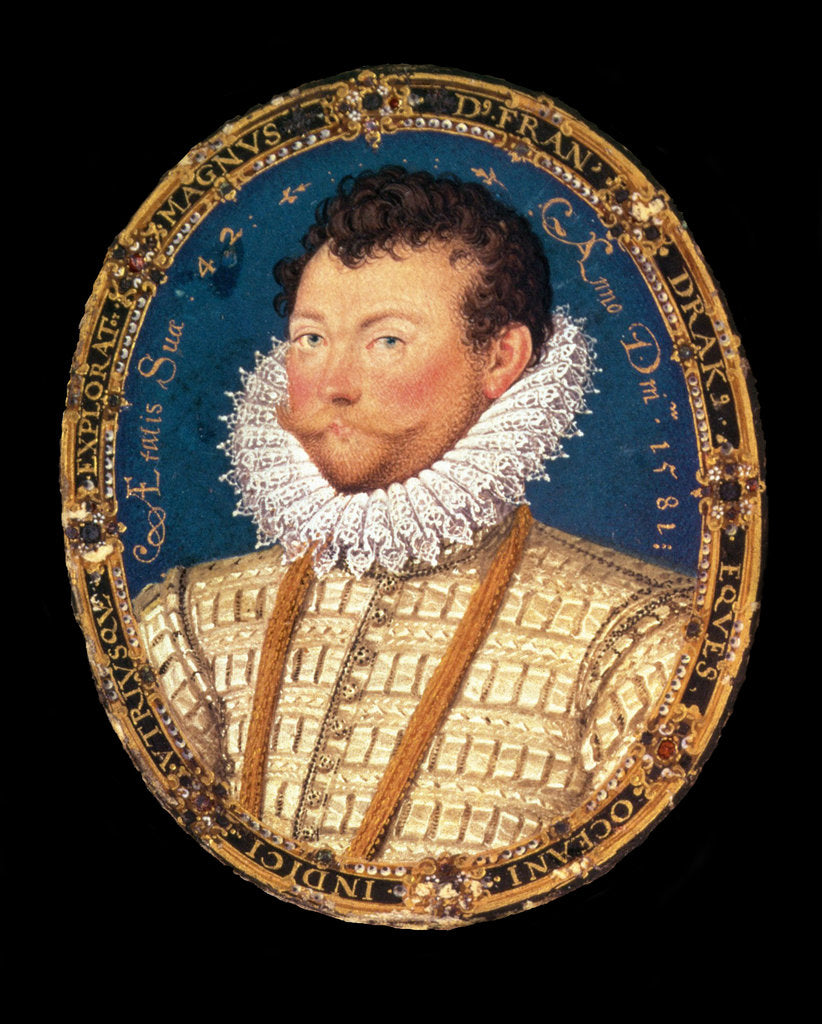 Detail of Portrait of Sir Francis Drake, 1581 by Nicholas Hilliard