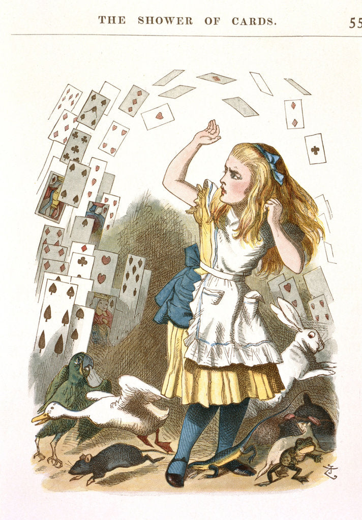 Detail of The Shower of Cards. Illustration for Alice in Wonderland by L. Carroll, 1890 by Sir John Tenniel