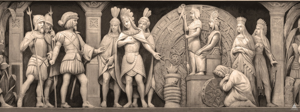 Detail of Cortez and Montezuma at Mexican Temple (The frieze in the Rotunda of the United States Capitol), 186 by Constantino Brumidi