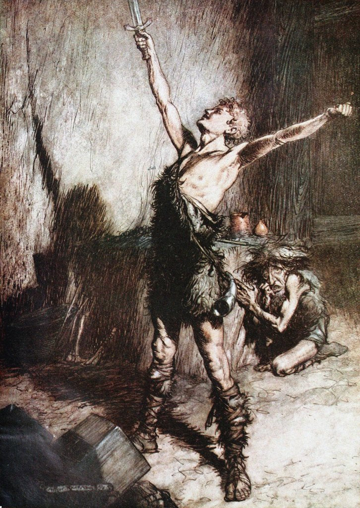 Detail of Siegfried forges his sword. Illustration for Siegfried and The Twilight of the Gods by Richard Wag by Arthur Rackham