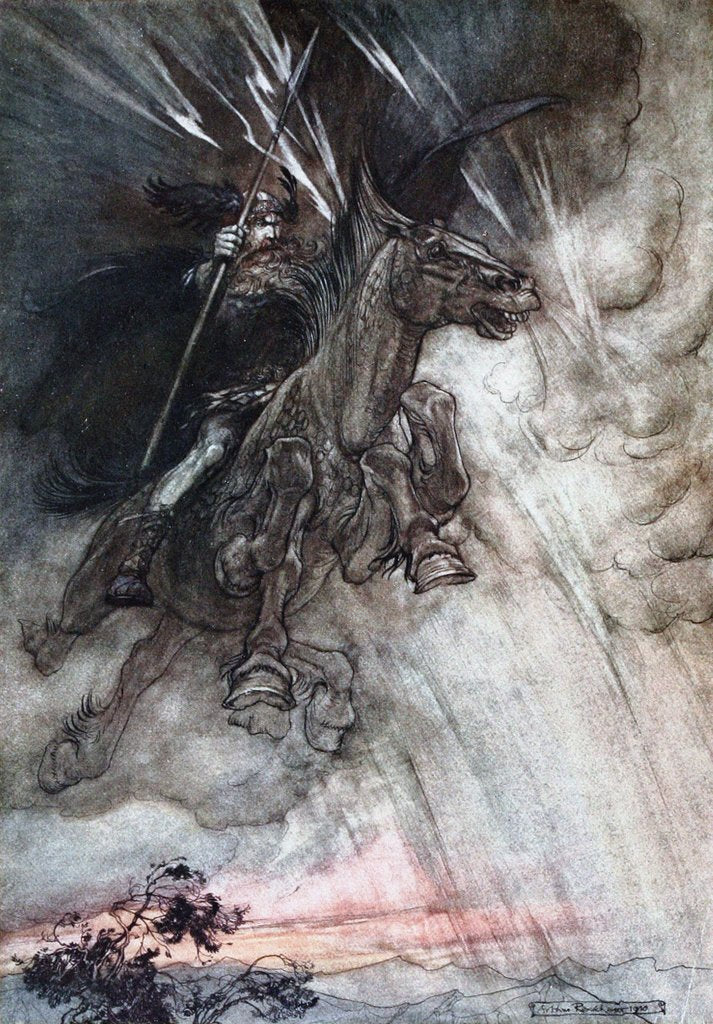 Detail of Furiously Wotan is riding to the rock. Illustration for The Rhinegold and The Valkyrie by Richard by Arthur Rackham