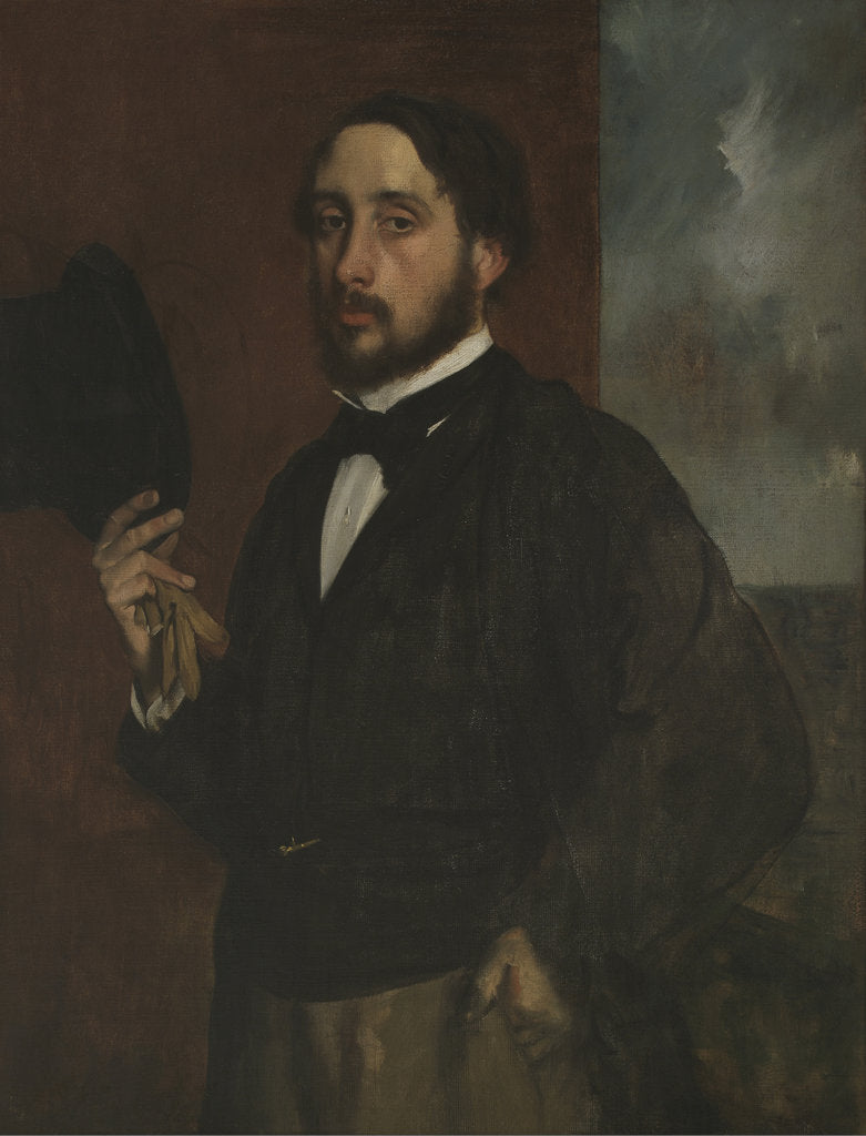 Detail of Self-portrait with Raised Hat, ca 1863 by Edgar Degas