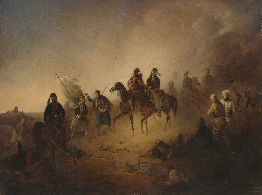 Detail of Markos Botsaris at the Battle of Karpenisi, on the night of August 8, 1823, 1852 by Franciszek Tomasz Tepa