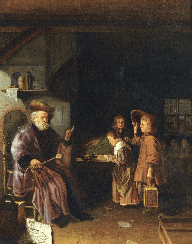 Detail of A schoolmaster teaching his pupils in a classroom, Mid of 17th century by Pieter Cornelisz. van Egmondt