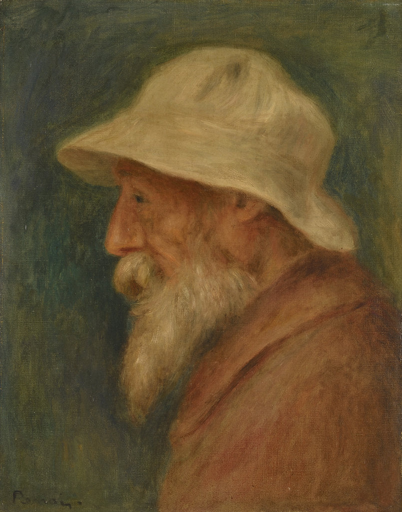 Detail of Self-portrait with white hat, 1910 by Pierre Auguste Renoir