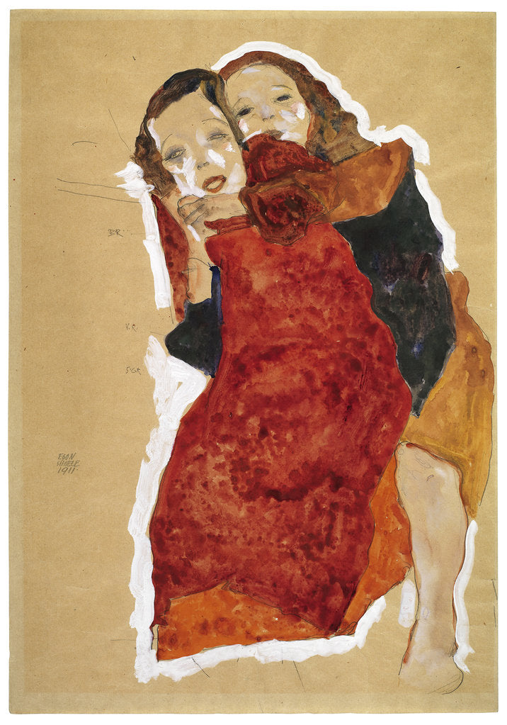 Detail of Two girls, 1911 by Egon Schiele