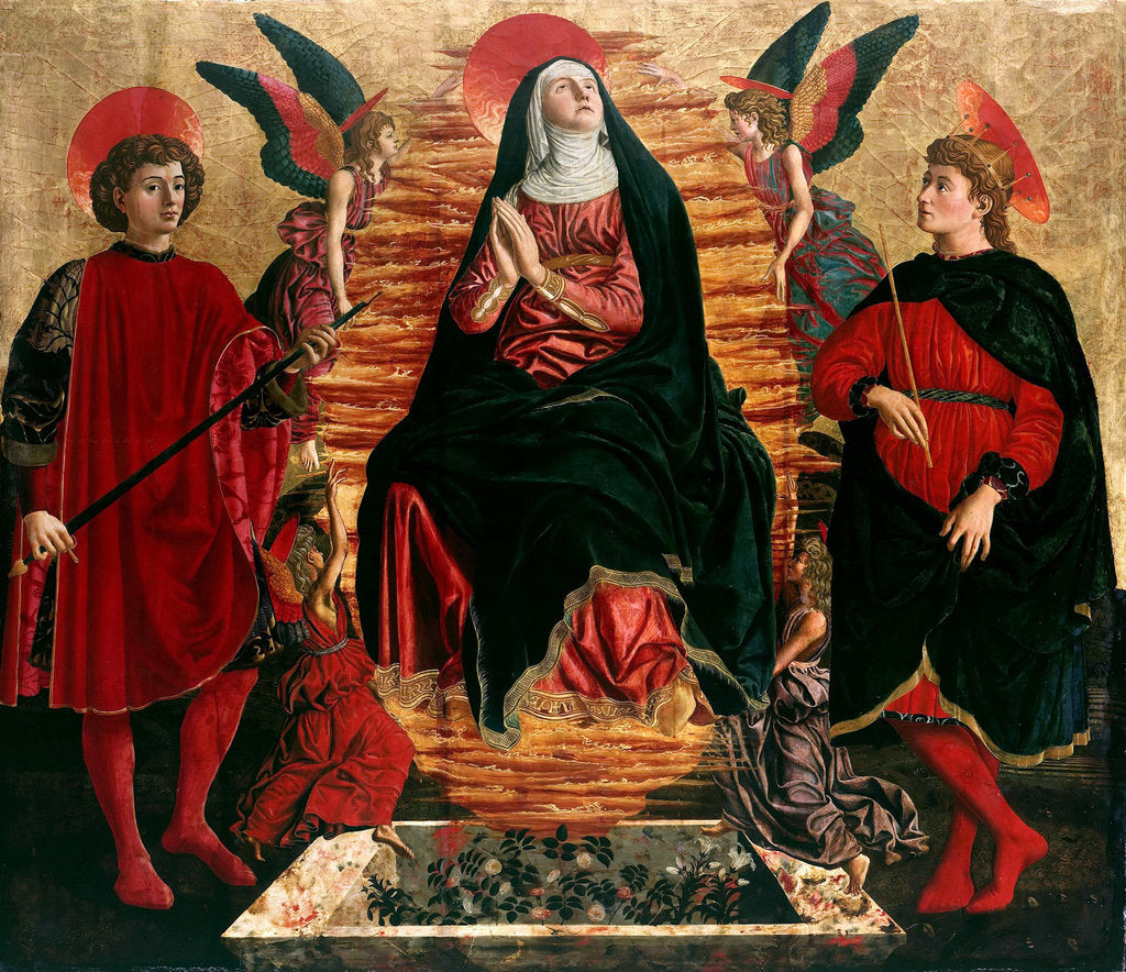 Detail of Assumption of the Virgin with Saints Julian and Minias, 1449-1450 by Andrea del Castagno