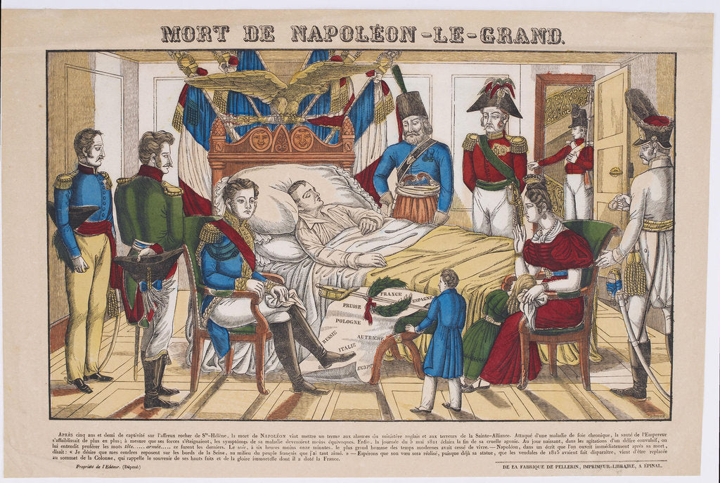 Detail of Napoleon Bonaparte on his deathbed, May 5, 1821, 1821-1822 by Vosges Imagerie d'Épinal