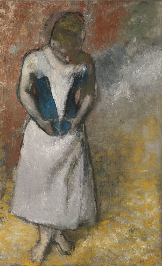 Detail of Woman standing from the front, clasping her corset, ca. 1883 by Edgar Degas