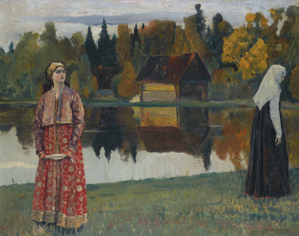 Detail of By the Lake, 1924 by Mikhail Vasilyevich Nesterov